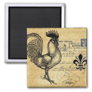 Vintage French Rooster On Burlap Magnet