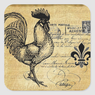 Vintage French Rooster On Burlap Square Sticker