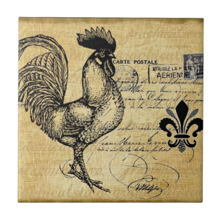 Vintage French Rooster On Burlap Tiles