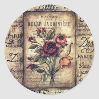 Vintage French Rose Design Classic Round Sticker