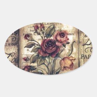 Vintage French Rose Design Oval Sticker