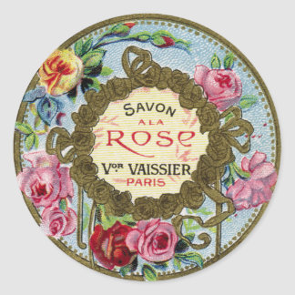 Vintage French Rose Perfume Classic Round Sticker