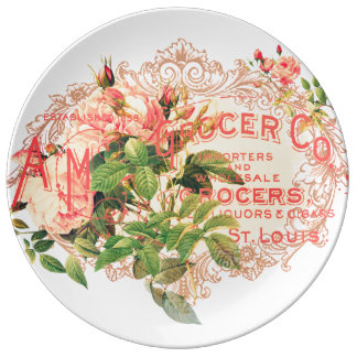 Vintage French, roses and advertising postcard Dinner Plate