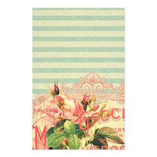 Vintage French, roses and advertising postcard Stationery