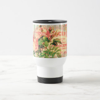 Vintage French, roses and advertising postcard Travel Mug