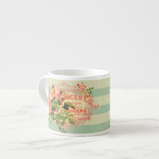 Vintage French roses and advertising text