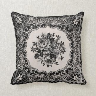 Vintage French Roses Damask - Black Creme pillow