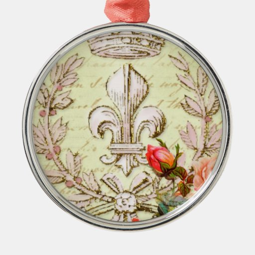 Vintage french round metal christmas ornament zazzle
