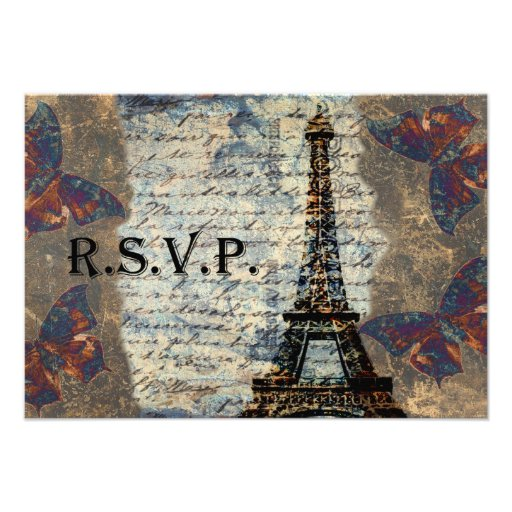 Vintage French rsvp cards standard 3.5 x 5 Invitations