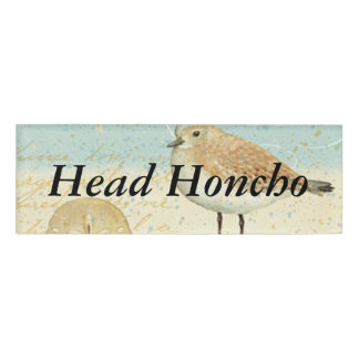Vintage French Sand Piper Name Tag