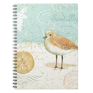 Vintage French Sand Piper Spiral Notebook