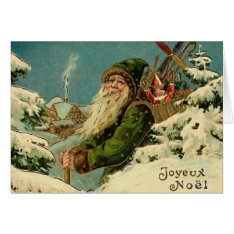 Vintage French Santa Christmas Greeting Card at Zazzle