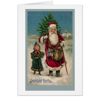 Vintage French Santa Claus Card