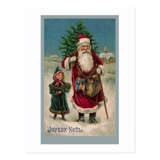 Vintage French Santa Claus Greeting Card