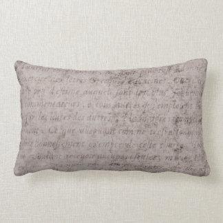Vintage French Script Parchment Antique Paper Lumbar Pillow
