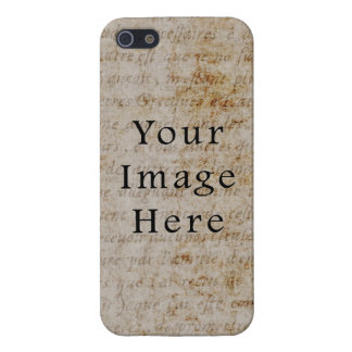 Vintage French Script Parchment Paper Background Covers For iPhone 5