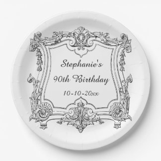 Vintage French Scroll 90th Birthday 9 Inch Paper Plate