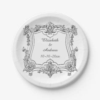 Vintage French Scroll Engagement 7 Inch Paper Plate