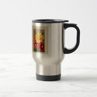Vintage French Seed Art  Dahlia - dahlia simple Travel Mug
