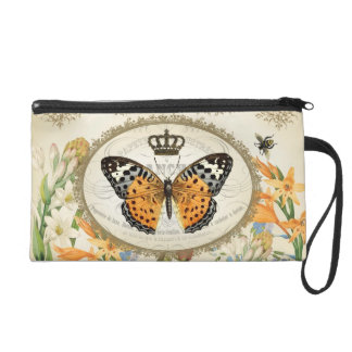 Vintage French Shabby Chic  Butterfly wristlet