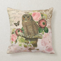 Vintage French shabby chic owl pillow