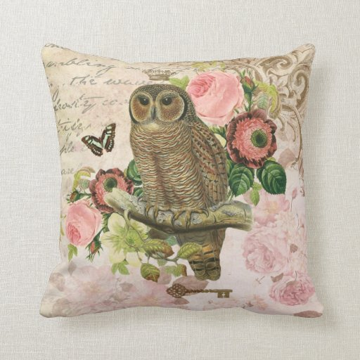 Vintage French shabby chic owl pillow Zazzle