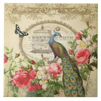 Vintage French Shabby Chic Peacock Ceramic Tile