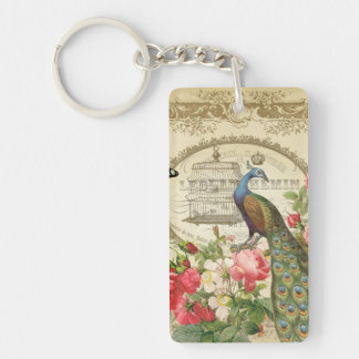 Vintage French Shabby Chic Peacock Keychain