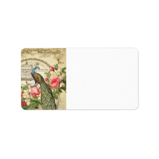 Vintage French Shabby Chic Peacock Label