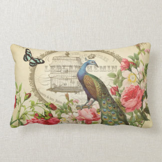 Vintage French Shabby Chic Peacock Lumbar Pillow