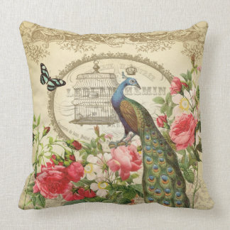 Vintage French Shabby Chic Peacock Throw Pillow