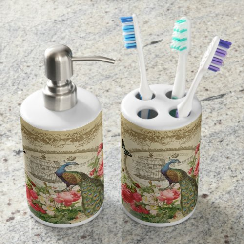 Vintage French Shabby Chic Peacock Soap Dispenser And Toothbrush Holder