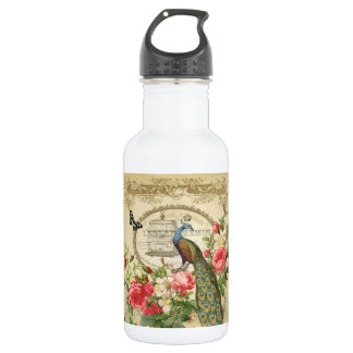 Vintage French Shabby Chic Peacock Water Bottle