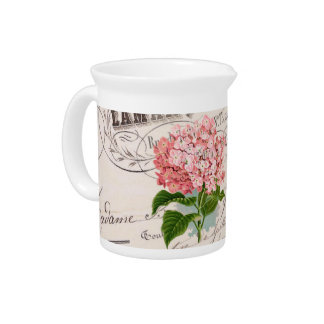Vintage French Shabby Chic Pink Hydrangea Pitcher