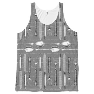 Vintage French Silverware All-Over-Print Tank Top