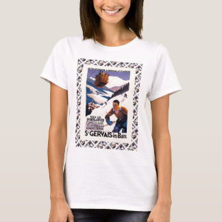 Vintage French Ski Resort Poster T-Shirt