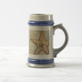 Vintage French Starfish Art Beer Stein