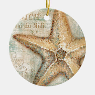 Vintage French Starfish Art Ceramic Ornament