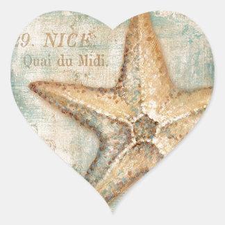Vintage French Starfish Art Heart Sticker