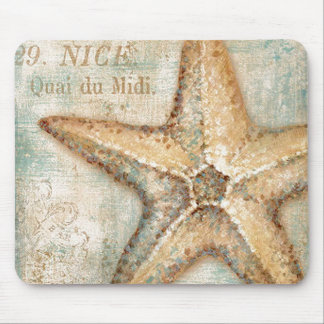 Vintage French Starfish Art Mouse Pad