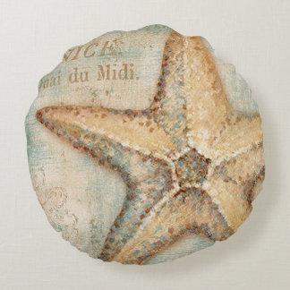 Vintage French Starfish Art Round Pillow