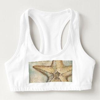 Vintage French Starfish Art Sports Bra