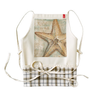 Vintage French Starfish Art Zazzle HEART Apron