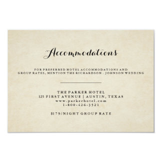 Vintage French Style Wedding Accommodations Card