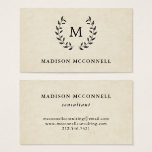 French style business cards templates zazzle vintage french style wreath and monogram business card reheart Gallery