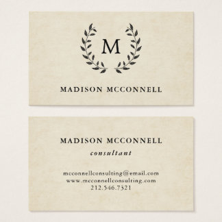 Vintage French Style Wreath and Monogram Business Card