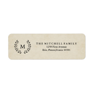 Vintage French Style Wreath and Monogram Label