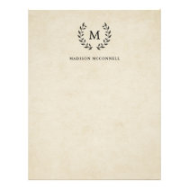 Vintage French Style Wreath and Monogram Letterhead