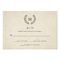 Vintage French Style Wreath and Monogram RSVP Card