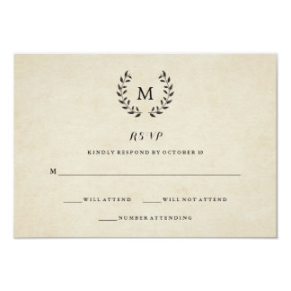 French style invitations announcements zazzle vintage french style wreath and monogram rsvp card stopboris Choice Image